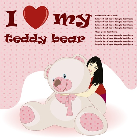 The beautiful girl holds a toy bear on a white and pink background Vector