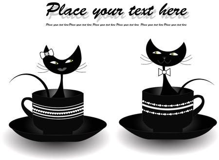 Two black cats sitting in black cups on a white background Vector