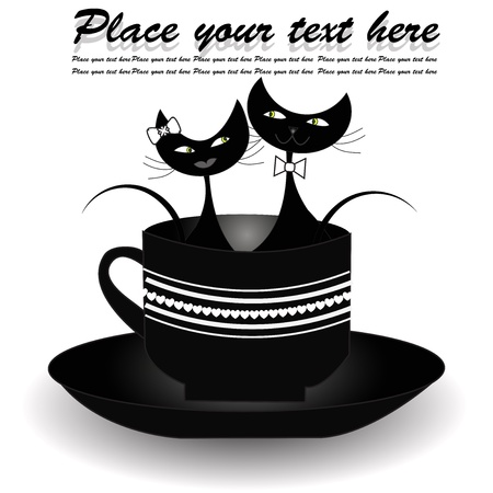Two black cats sitting in black cup on a white background Vector