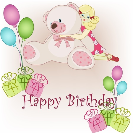 happy young people: Children s birthday bear with the girl, gifts and balloons