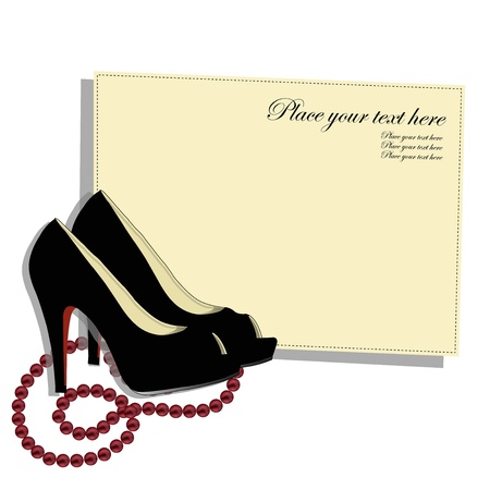 fashion item: Beautiful shoes with a red beads on a white background