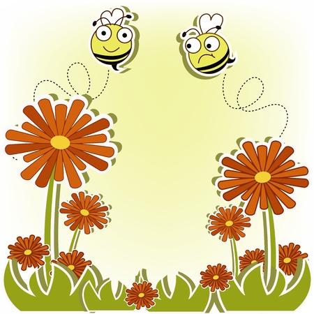 Flying bee on flower Stock Vector - 13345867