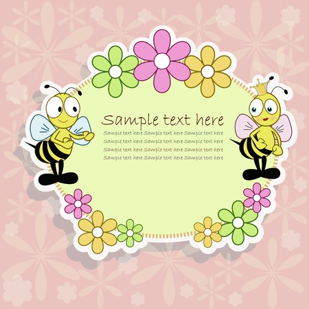 Two bees with flowers on the pink background Vector