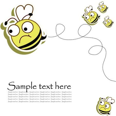 abeja caricatura: Abejas volando, enojado sobre un fondo blanco