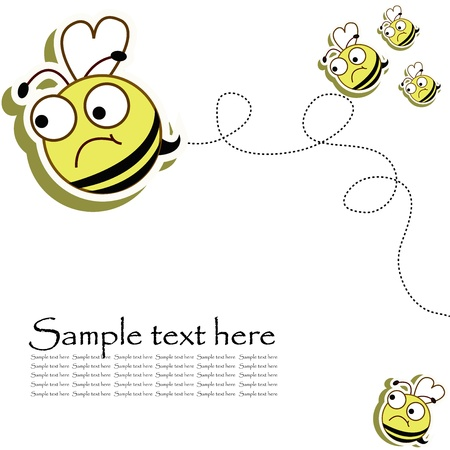 grumpy: Flying,angry bees on a white background