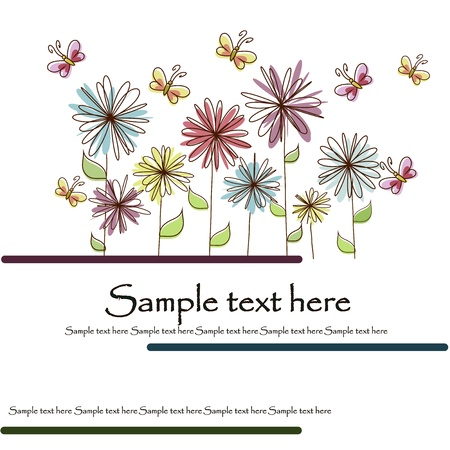 whimsical pattern: Multicolored flowers and butterflies on a white background