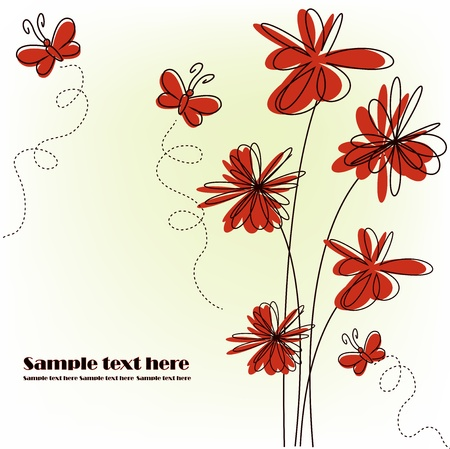 Red flowers with red butterflies on a white background Stock Vector - 13345857