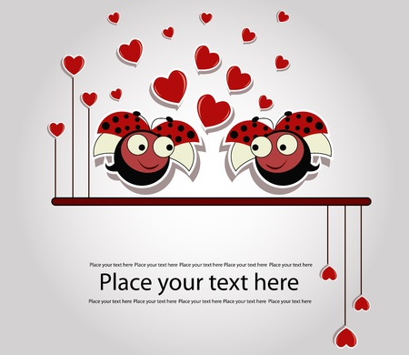 Two enamoured ladybirds with hearts on a gray background Vector