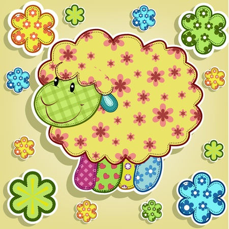 Multicolored sheep with flowers on a yellow background Vector