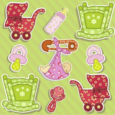 diaper pins: Set for the baby on a green background with flowers Illustration