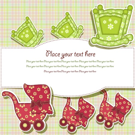 baby goods: Set for the baby on a checkered background