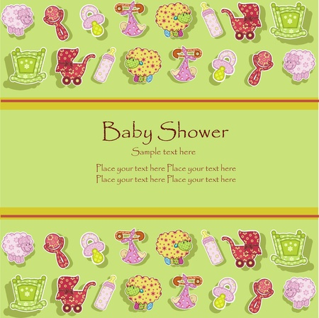 preschool child: Set for the baby on a green background