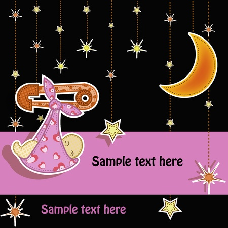 Beautiful card with a set for the baby Stock Vector - 13345809