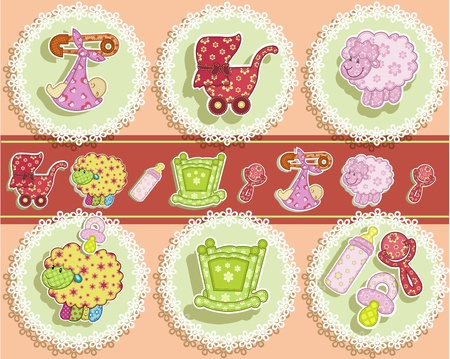 diaper pins: Set for the baby on a pink background with flowers Illustration