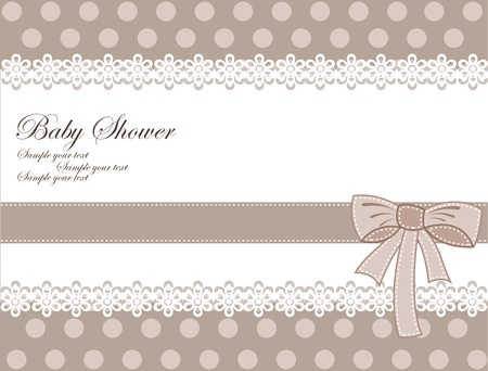 baby invitation: Vector retro greeting card for baby shower