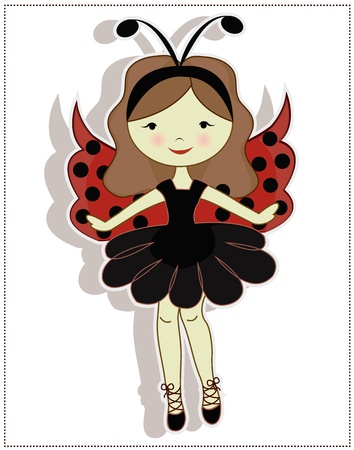 wild hair: My dear girl, dressed in a ladybug costume on a white background