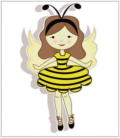 femme dressing: Ma ch�re fille, v�tue d'un costume d'abeille sur un fond blanc