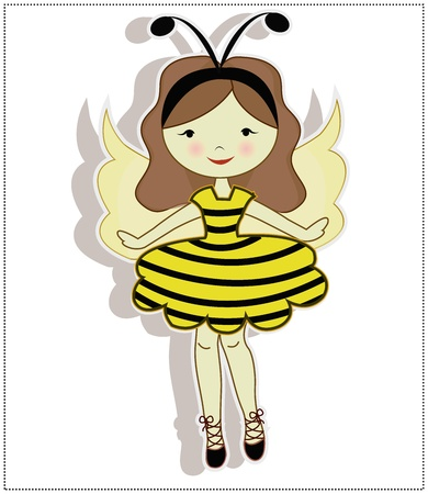 niños vistiendose: Mi querida niña, vestida con un traje de abeja sobre un fondo blanco