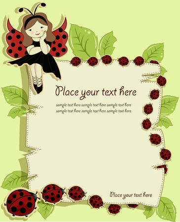Vector greeting card with a beautiful girl and ladybirds