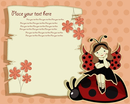 fantasia: Vector greeting card with a beautiful girl and ladybird