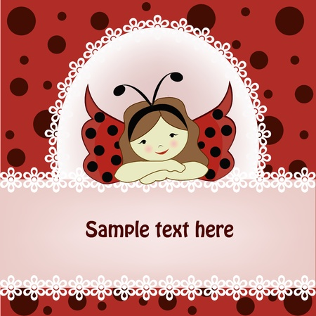 ladybug cartoon: Vector greeting card with a beautiful girl and ladybird