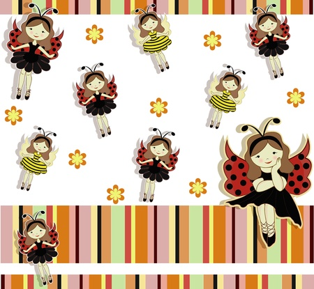 A beautiful card with the girls bees and ladybirds Vector