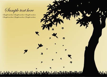chene bois: Silhouette noire d'un arbre avec des oiseaux et les feuilles qui tombent sur un fond jaune