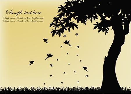 ek: Svart siluett av ett träd med fåglar och fallande löv på en gul bakgrund Illustration