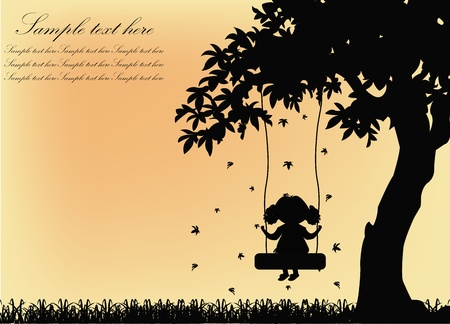 Black silhouette of the girl on a swing with a tree on a yellow background Vector