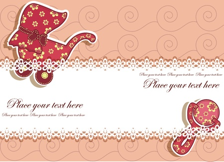 Set for the baby on a pink background with flowers Vector
