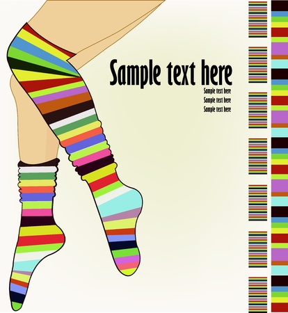 Beautiful female legs in striped socks on a white background Vector