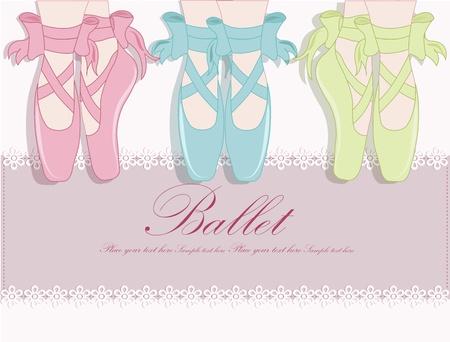 ballet cl�sico: Zapatillas de ballet, ilustraci�n vectorial