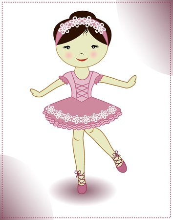 The beautiful girl the ballerina in a pink dress on a white background Vector