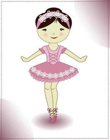 ballet slipper: The beautiful girl the ballerina in a pink dress on a white background