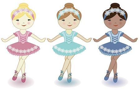 tanzen cartoon: Drei sch�ne sch�ne M�dchen von Ballerinen auf wei�em Hintergrund