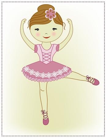 ballet slipper: La hermosa ni�a de la bailarina en un vestido de color rosa sobre un fondo blanco