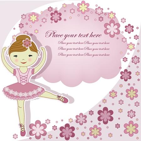 ballet slipper: La hermosa ni�a de la bailarina en un vestido rosa con flores sobre un fondo blanco Vectores