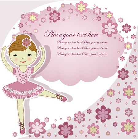 ballet slipper: The beautiful girl the ballerina in a pink dress with flowers on a white background
