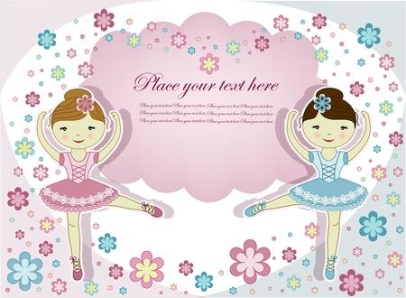 ballet slipper: Dos hermosas ni�as de la bailarina con flores sobre un fondo blanco