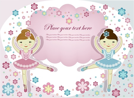 Two beautiful girls of the ballerina with flowers on a white background Vector
