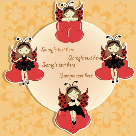 Vector greeting card with a beautiful girl and hearts Vector