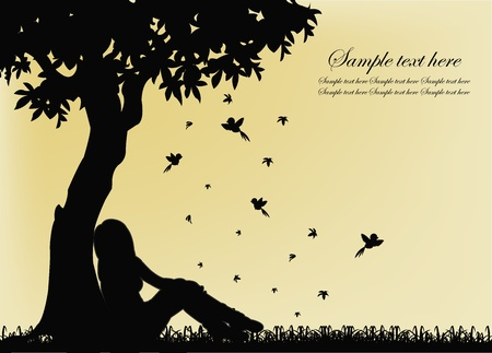 Black outline of a girl sitting on the grass near the tree Vector