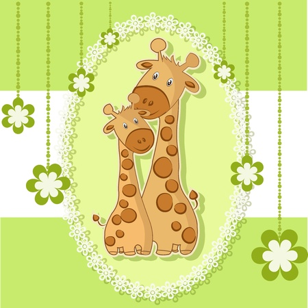 A beautiful card with two giraffes on a green background with flowers Vector