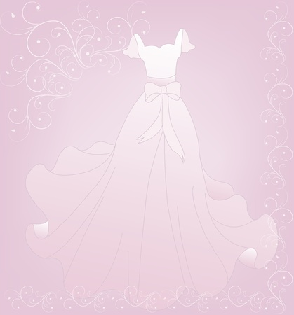 wedding reception decoration: Beautiful white wedding dress on a pink background with lace