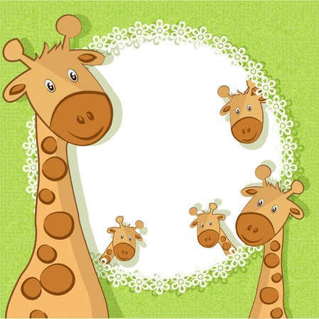 A beautiful card with giraffes on a green background with flowers Vector