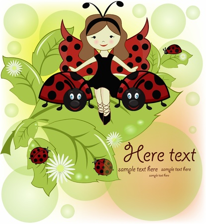 ladybug: Vector greeting card with a beautiful girl and ladybirds