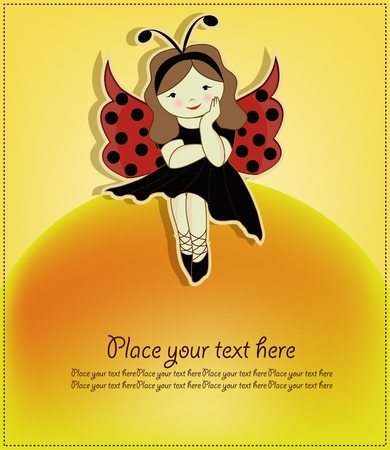 My dear girl, dressed in a ladybug costume Vector