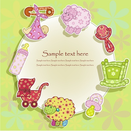 baby goods: Set for the baby on a green background with flowers Illustration