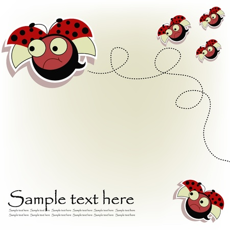 Flying ladybugs on a white background Vector