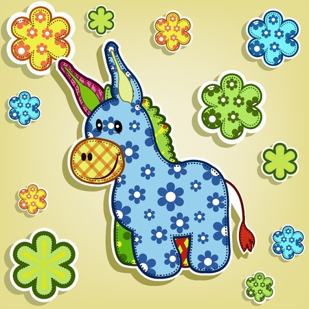 Multicolored donkey with flowers on a yellow background Vector